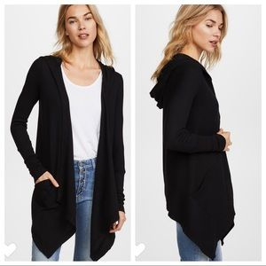 Splendid Thermal Open Front Cardigan With Hood